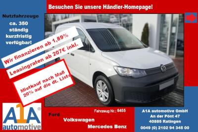 VW Caddy Cargo 2.0 TDIMJ2021 *elAu*ZV*AB* Außenspiegel elektrisch, Start-Stopp-System, Zentralverriegelung, Beifahrerairbag, Trennwand, Teppichbodenbelag im Fahrerhaus